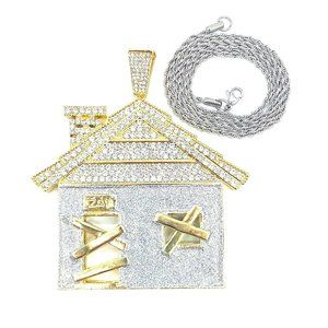 """Traphouse Pendant + 24"""" 3mm Silver Rope Chain"""